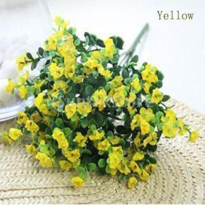 ノーブランド品   人工絹 花 植物 家 結婚式 装飾 造花 6色選べる - イエロー stk-shop