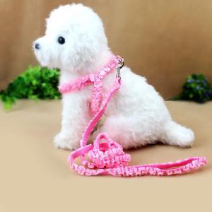 Perfk 犬用 安全ストラップ 調整可能 ベルト ナイロン リード リーシュ 首輪 ハーネス 快適 全5色選べる - ピンク stk-shop