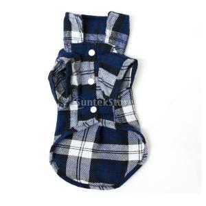 【ノーブランド品】ペット用品 愛犬 格子縞 Tシャツ 服 全3色4サイズ ブルーM