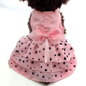 犬のペットの子犬女性の王女のドレスの服の衣装のスカートのアパレルピンクXS|stk-shop