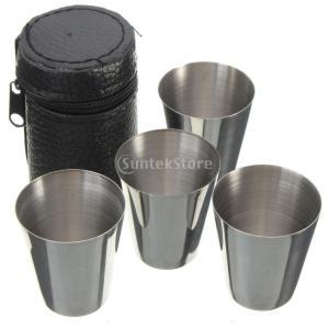 【ノーブランド 品】ワインカップ ステンレス製 マグカップ  ビール ティー タンブラー キャンプ 旅行 4本|stk-shop