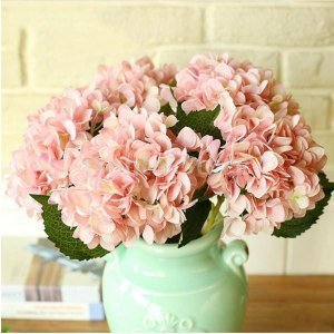 ノーブランド品 人工 アジサイ 花 絹 植物 結婚式 パーティー 庭 装飾 2色選べる - ピンク stk-shop