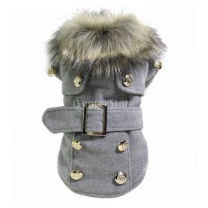 ペットの犬猫の冬厚く暖かいウールのコートのジャケットの服アパレルグレーリットル|stk-shop