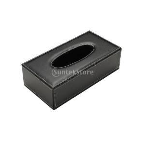 【ノーブランド 品】PU レザー ティッシュボックス カバー ホーム カー ナプキン トイレット ペーパー ホルダー ケース ブラック|stk-shop