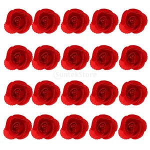 Dovewill DIY フラワー ヘッド バラ 人工 造花 ローズ フラワー ヘッド ロマンティック 全9色選べる - レッド stk-shop