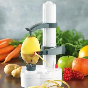 【ノーブランド品】多機能 電気 自動 皮むき器 ピーラー 果物 野菜 クイック ピール ツール キッチン用品 白い|stk-shop
