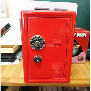 18cm 金属 貯金箱 安全 お金の節約 ボックス ケース ギフト テーブル オーガナイザー 全4色選ぶ - レッド