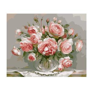 Lovoski キャンバス 手描き絵 絵画 モダン アート 描く油絵 油画 風景画 結婚式の装飾 全12パタン選べ ブラシ 塗料付き - バラ, 40 * 50cm