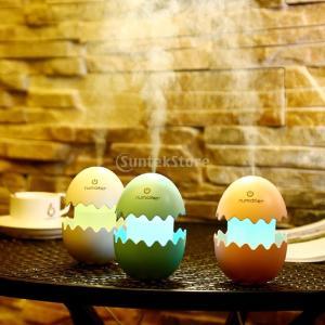 ノーブランド品 全3色 面白い卵 ミニ USB 冷却ミスト加湿器 夜 光空気清浄機 - 青|stk-shop