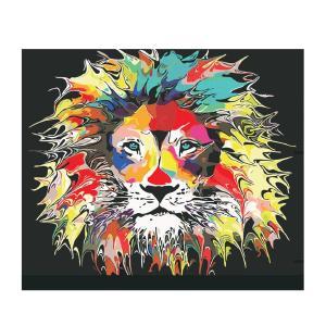 Fenteer キャンバス DIY  壁アート 手塗り絵 油絵 壁飾り 塗料付き 贈り物 多スタイル選べ - ライオンズ
