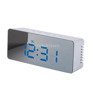 Baoblaze LED USB 目覚まし時計 長方形 デジタル アラーム 卓上 多機能  クロック 鏡面  全6色 - 長方形、青色|stk-shop