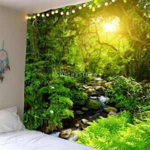 タペストリー 風景 3D 壁掛け 防水 おしゃれ テーブルクロス インテリア 180x180cm|stk-shop