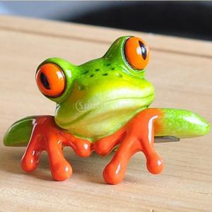可愛い ミニ 創造的 樹脂 3D 工芸品 カエル 置物 オフィス デスク コンピュータ 装飾 全2種 - #1 stk-shop