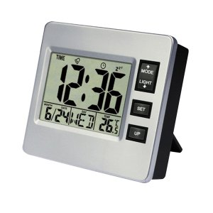 常夜灯付きLCD時計、温度/カレンダー表示/スヌーズ機能、バッテリー駆動のみ|stk-shop
