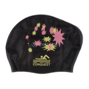 Dovewill 防水 シリコン 水泳帽 スイミングキャップ ロング髪 お風呂キャップ 入浴キャップ 通気性 全7色 - ブラック|stk-shop