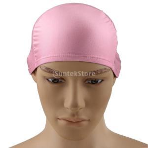Lovoski 大人 男女兼用 柔らかい 通気性 水泳キャップ 帽子 プール スイミングキャップ 長い髪 レディース メンズ 全9色選べる - ピンク