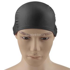 大人 男女兼用 柔らかい 通気性 水泳キャップ 帽子 プール スイミングキャップ 長い髪 レディース メンズ 全9色選べる - グレー|stk-shop