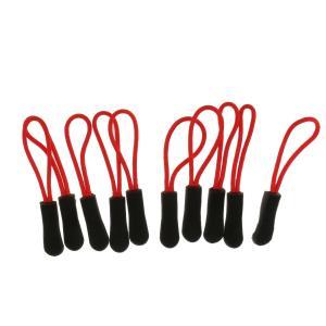 【ノーブランド 品】10個 ジッパープル 交換 ジップコード プラー スライダー ジャケット バックパック ブラック ジッパープル 赤|stk-shop