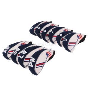 10個セット アメリカの旗パタン ネオプレン ゴルフクラブ アイアン ヘッドカバー|stk-shop