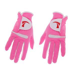 ノーブランド品  全4サイズ 1ペア 女性 ゴルフグローブ 手袋 五本指 繊維布 ノンスリップ 通気性 - L stk-shop