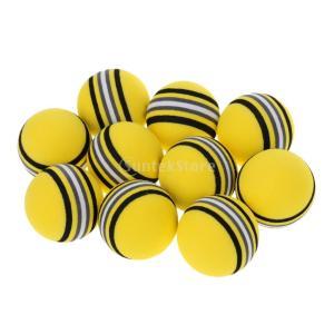 10個 EVA フォーム スポンジ 練習ボール  ゴルフボール 柔軟性 屋外 屋内 使用 全2色 - 黄|stk-shop