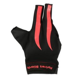 Lovoski 全2色選べ 射撃 右手用 手袋 グローブ 通気性 伸縮性 スヌーカー 趣味用品 ビリヤード スポーツ - レッド+ブラック