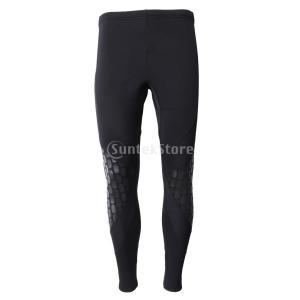男性 ウェットスーツ パンツ 3mmネオプレン 日焼け止め スキューバ シュノーケル サーフィン ダイビング ズボン 全4サイズ - ブラック, XL|stk-shop