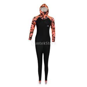 柔らかい 女性 女の子 フルボディ 水着 ジャンプスーツ ラッシュ ガード ウェットスーツ 軽量 弾力性 全3色5サイズ - オレンジ+ブラック, XL|stk-shop