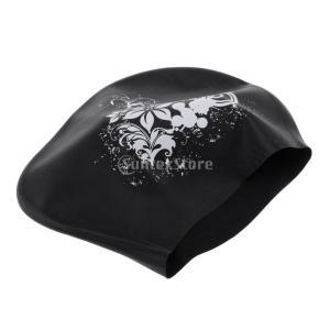 高弾性 水泳帽子キャップ スイムキャップ 女性 ユニバーサル 防水 快適 全9色 - ブラック|stk-shop