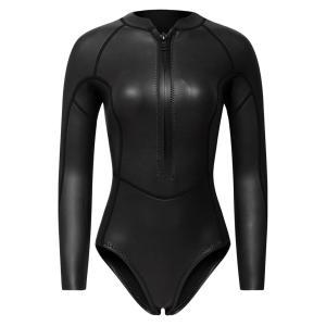 女性ネオプレンスリーブウェットスーツフロントジップダイビングビキニスーツブラック光沢L|stk-shop