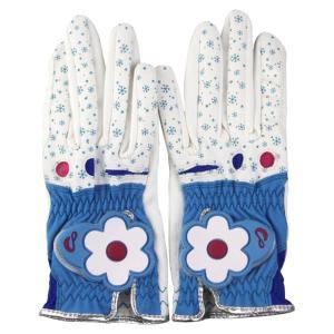 1ペア女性レディースゴルフグローブ左右の手用ブルーホワイトサイズ19 stk-shop
