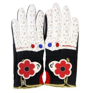 1ペア女性レディースゴルフグローブ左右の手用ブラックホワイトサイズ18 stk-shop