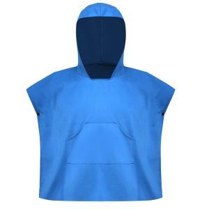 屋外スイミングクイックドライフード付きバスローブビーチバスタオルローブブルー