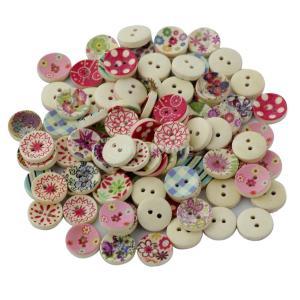 【ノーブランド 品】縫製 クラフト用 塗装色 100pcs ラウンド DIY 木製 ボタン|stk-shop