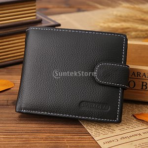 メンズ黒の財布のidクレジットカードホルダー財布コインポケットを二つに折り畳めます|stk-shop