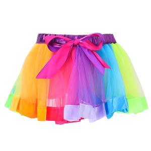 ノーブランド品 子供 素敵 ちょう結び ダンス チュチュ スカート 虹色 ミニドレス スカート 子供たちのドレス 全2サイズ - S|stk-shop