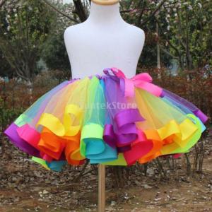 ノーブランド品 子供 素敵 ちょう結び ダンス チュチュ スカート 虹色 ミニドレス スカート 子供たちのドレス 全2サイズ - L|stk-shop