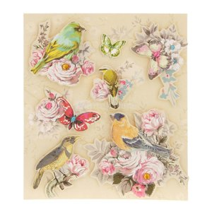 3D立体古典的なヴィンテージの子供のステッカーcoloful花と鳥7PCS|stk-shop