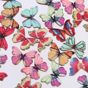 ノーブランド品50pcs 混合形状 DIY 工芸品 縫製 着色 木製のボタン 蝶結び 2穴 カラフル|stk-shop