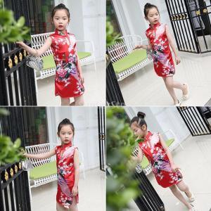 【ノーブランド品】子供用 女の子 古典 花孔雀 チャイナドレス チャイナ qipao ドレス 赤 サイズ4|stk-shop