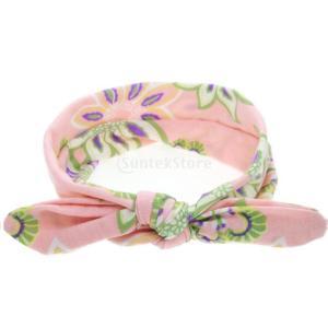 ノーブランド品 赤ちゃん 子供 女の子 花 ウサギの耳 ヘアバンド ターバン 弓 ヘッドバンド カチューシャ 全4色 - ピンク|stk-shop