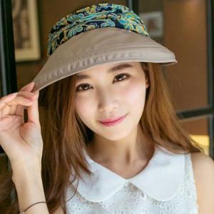 ノーブランド品 女性 太陽 日 帽子 顔保護 UV対策 ツバ 広バイザー 折り畳み式 キャップ 全5色 - カーキ|stk-shop