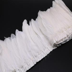 装飾材料 羽根 染め ガチョウの羽 毛フリンジ 舞台衣装 服のすそ DIY装飾用 全15色 - ホワイト