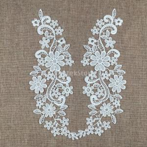 ノーブランド品 DIY 手芸用 花柄 レース アップリケ 刺繍 結婚式 パッチ 装飾品 全2色選べる - 白|stk-shop