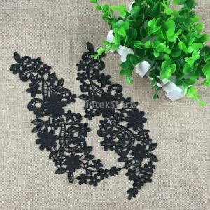 ノーブランド品 DIY 手芸用 花柄 レース アップリケ 刺繍 結婚式 パッチ 装飾品 全2色選べる - 黒|stk-shop