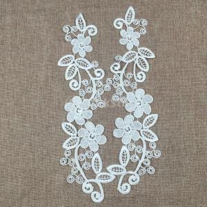 ノーブランド品 花 レース アップリケ 刺繍 モチーフパッチ 女性 DIY 手芸用 裁縫 縫製 素材 アクセサリー 全2色選べる - 白|stk-shop