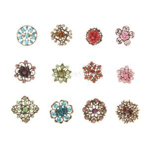 KOZEEY合金 女性 ラインストーン 小さなブローチ ジュエリー 花の形 12PCS|stk-shop