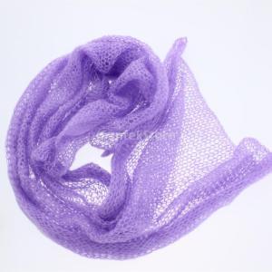 ノーブランド品  赤ちゃん ストレッチ モヘア かぎ針編み ニット ラップ 毛布 出産お祝い ベビーシャワー 写真撮影小道具 全6色 - 紫|stk-shop