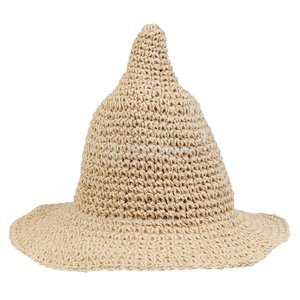 Lovoski ベビー キッズ 麦わら ビーチキャップ とんがり帽子 日除け 帽子 サンハット 可愛い 全9色 - クリーム stk-shop