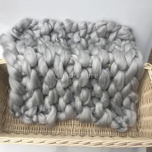 Prettyia ウールブレンド 子供 写真の小道具 ブランケット 編み紐 編み物の毛布 新生児 赤ん坊 パーティー 全4色 - グレー|stk-shop